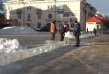 В Карталах начали строить ледовый городок